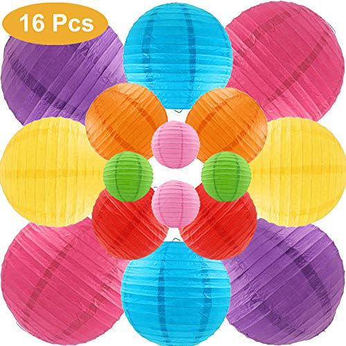 Runbod 16 Packs Multicolor Paper Lanterns with Assorted Sizes ( 4