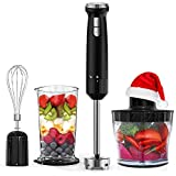 Hand Blender Homgeek 4 in 1 16 Speed 2 Turbo Button Immersion Blender, 1000ml Beaker, 800ml Food Processor, Heavy Pure Copper Motor 600W, Whisk Attachments, Stainless Steel Black