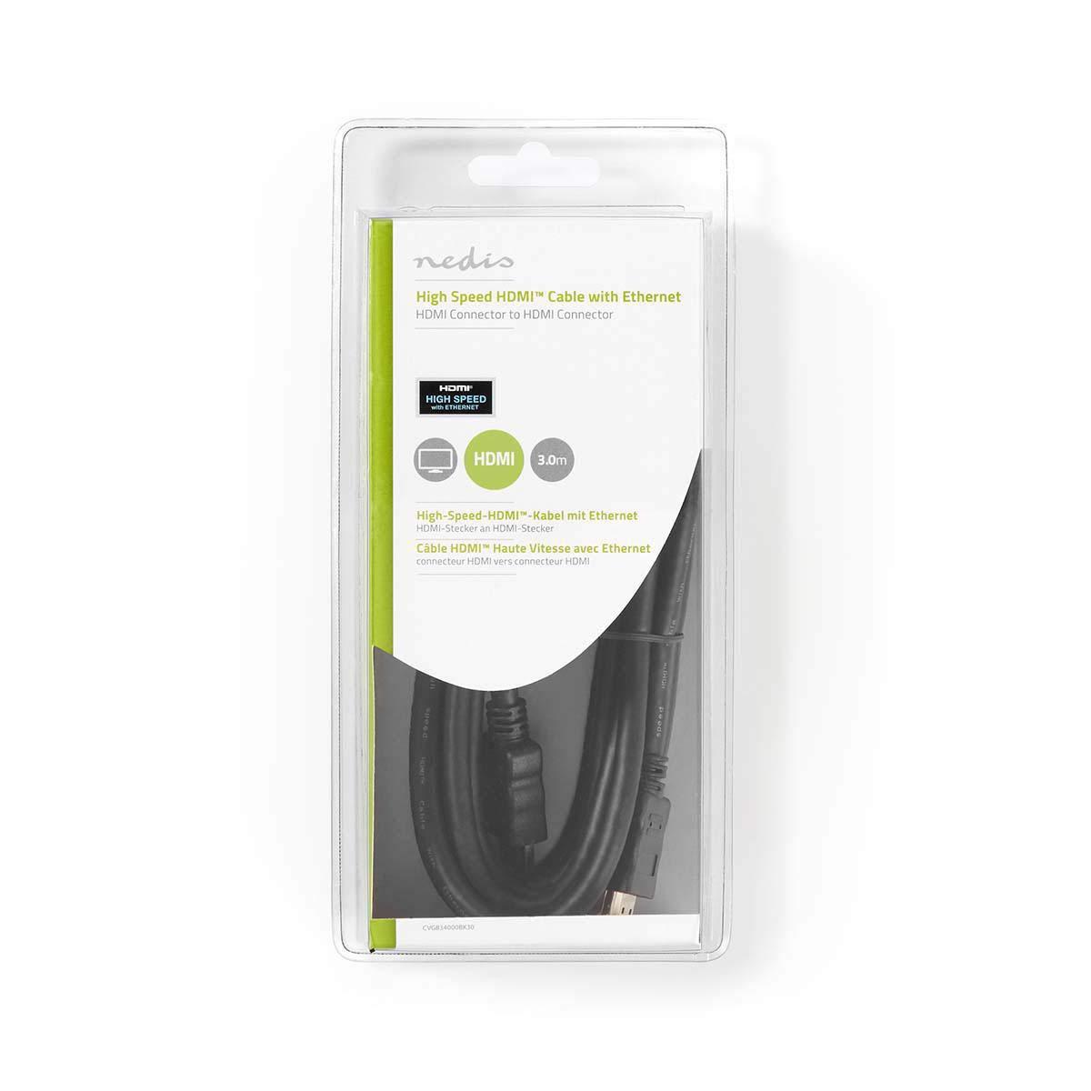 Noir 15 m Connecteur HDMI Connecteur HDMI Nedis CVGB34000BK150 C/âble HDMI/™ Haute Vitesse avec Ethernet