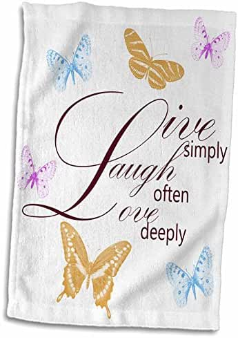 3dRose PS Inspirations - Live, Laugh, Love with Pretty Butterflies - 12x18 Hand Towel (twl_79139_1)