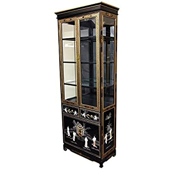 oriental furniture tall lacquer curio cabinet black mother of pearl ladies