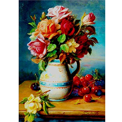 MXJ DIY 5D Diamond Painting by Number Kits Full Round Drill Rhinestone Embroidery Cross Stitch Picture Art Craft for Home Wall Decor Flowers in a Vase 12x16In ()