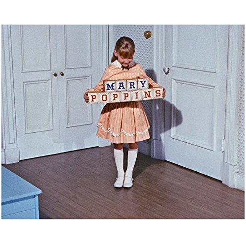 Mary Poppins Karen Dotrice as Jane Banks holding  wooden blocks  x 10 Inch Photo