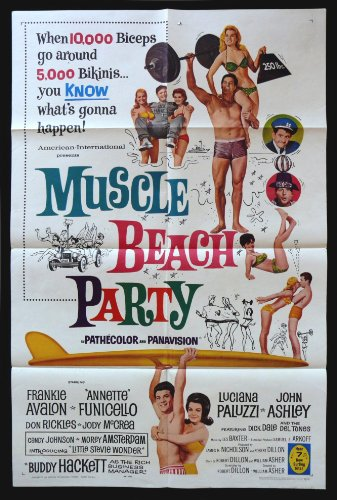 Muscle Beach Party * 1SH Orig Movie Poster Surf Surfing