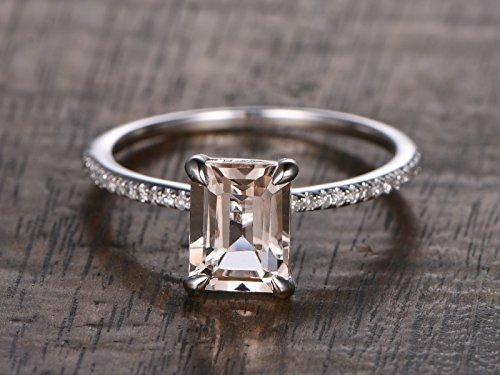 Morganite Engagement Ring Emerald Cut 6x8mm VS Gemstone SI I-J Diamond 14k White Gold,Stacking Band,Bridal Ring,Wedding Ring by Myraygem