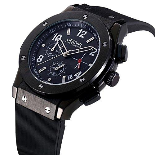 Reloj Silicona para los hombres banda negra ventana 3 ATM Digital árabe impermeable cuarzo movimiento tres