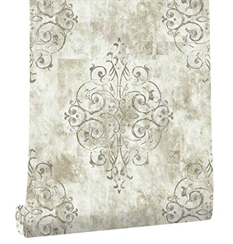 "HaokHome 79601 Vintage French Damask Wallpaper Off White/Grey/Lt.Gold for Home Bathroom Kitchen Accent Wall 20.8""x 33ft"