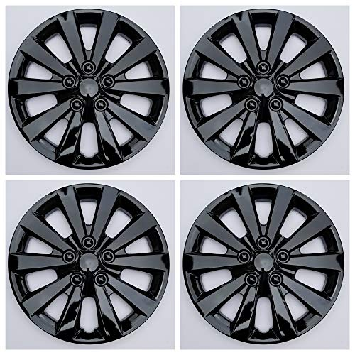 MARROW New Wheel Covers Hubcaps Fits 2013-2019 Nissan Sentra; 16 Inch; 10 Spoke; Gloss Black; Plastic; Set of 4; Spring Steel Clip; This is not a Bolt-on hubcap