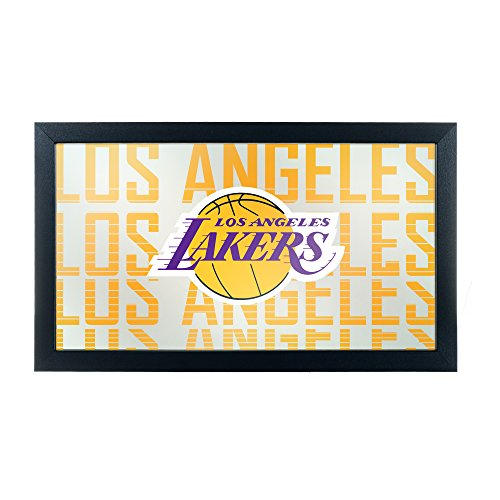 Trademark Gameroom NBA1500-LAL3 NBA Framed Logo Mirror - City - Los Angeles Lakers by Trademark Global