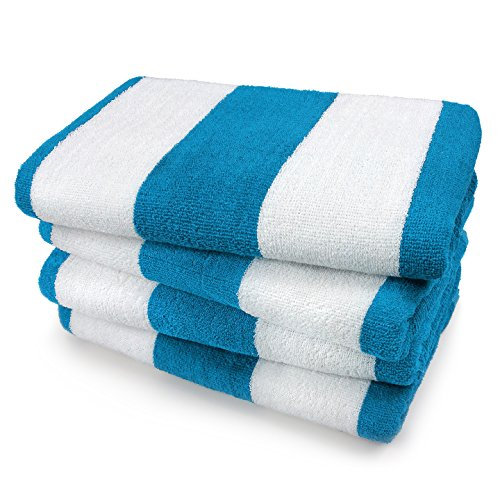 KAUFMAN- SET OF 4 TURQUOISE CABANA BEACH AND POOL TOWELS. 100% COTTON (Beach Towls)