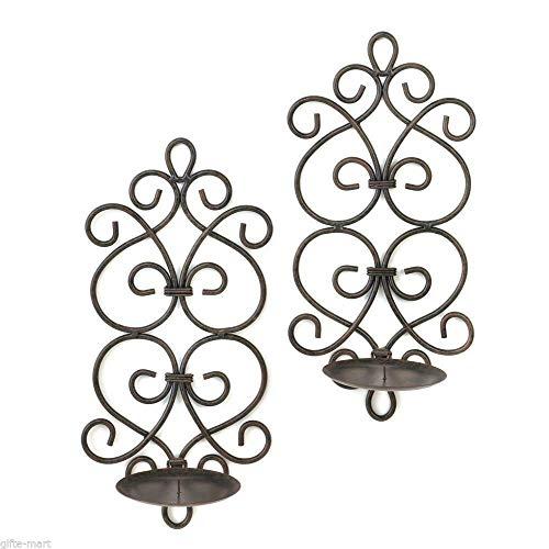 BigBright Black Iron Artisanal Sconce Wall Mount Pillar Heart Scroll Candle Holder Pair Set of 2 ()