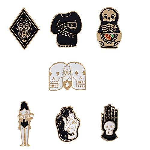- Cute Cartoon Brooch Pins Enamel Brooches Lapel Pins Badge Women Girls Children Clothing Bag Decor (Black3)