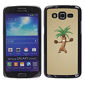 Qstar Arte & diseño plástico duro Fundas Cover Cubre Hard Case Cover para Samsung Galaxy Grand 2 II / SM-G7102 / SM-G7105 ( Palm Tree Cartoon Character Animation Drawing)