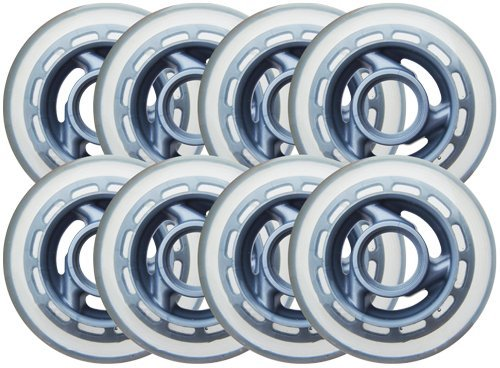 KSS Inline Skate 78A Wheels (8 Pack) with 3-Spoke hub, 80mm, (Hub In Line Skate Wheels)