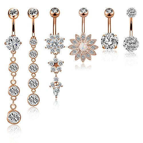 CABBE 6Pcs Belly Button Rings Set for Women 14G Stainless Steel Dangle Navel Rings Barbells (B:6Pcs Rose Goldtone) (Belly Shipping Rings Free Button)