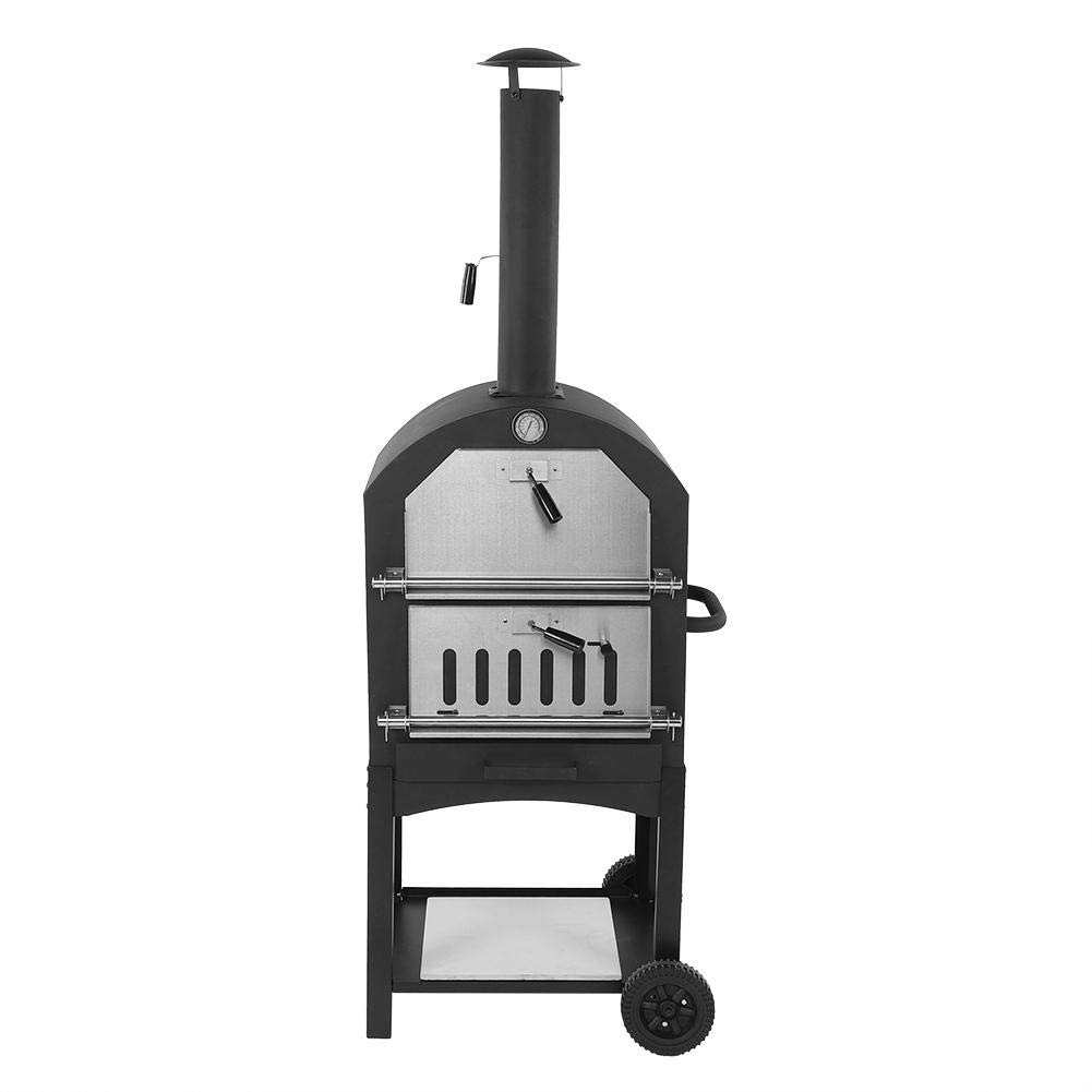 Outdoor Moveable Portable Pizza Oven,Portable Wood Fired BBQ Pizza Maker Bread Baking Cooking Tool with Wheels for Garden, Lawn, Decking & Patio by POCREATION