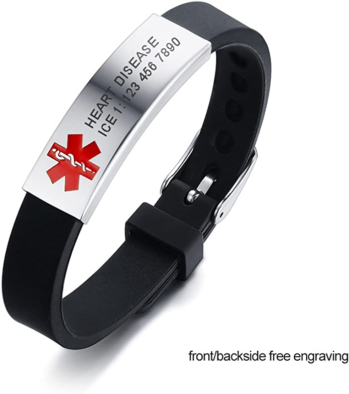 MEALGUET Personalized Engraving Silicone Comfort Sport Wristband Emergency Medical Alert ID Bracelet for Men Women Kid