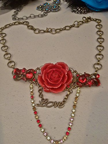 Vintage Swarovski Red Flower Necklace Functional Headpiece (Jewelry Costume Estate Vintage)