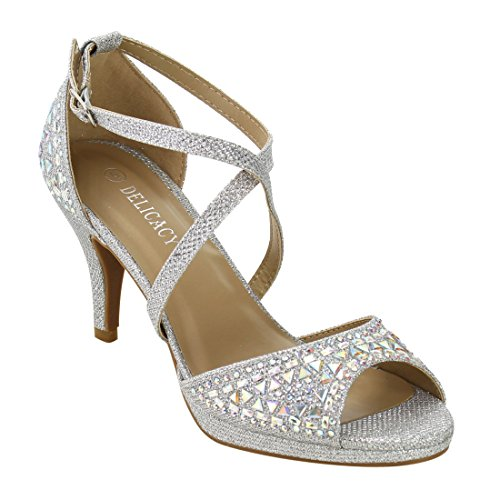 Forever IG09 Women's Rhinestone Ankle Criss Cross Strap Stiletto Heel Sandals, Color Silver, Size:6 ()