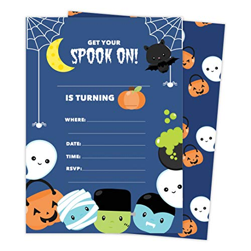 Halloween Boys 2 Happy Birthday Invitations Invite Cards (25 Count) With Envelopes and Seal Stickers Vinyl Girls Boys Kids Party (25ct)]()