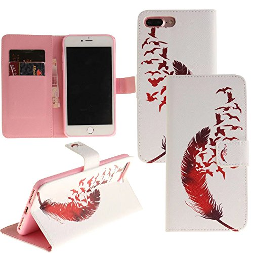 For iPhone 7 Plus Wallet Case, LefRight Red Plume Gulls Style Design Magnetic Flip Closure PU Leather Stand Protective Cover