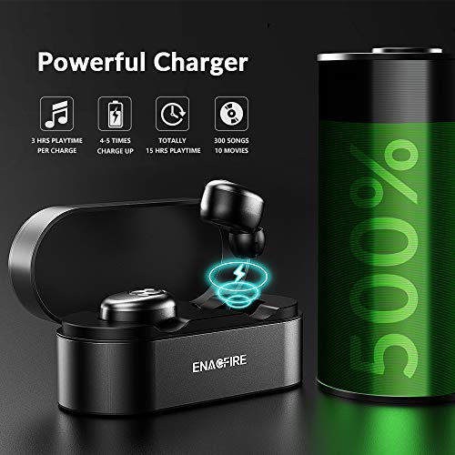 Wireless Earbuds, ENACFIRE E18 Latest Bluetooth 5.0 True Wireless Bluetooth Earbuds 15H Playtime 3D Stereo Sound for Gym Sport Wireless Headphones, Built-in Microphone for iOS and Android Device