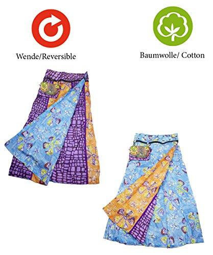 3b31433428ad ... Sunsa Damen Rock Maxirock Sommerrock Wickelrock Wenderock aus Baumwolle  Zwei optisch verschiedene Röcke mit einem abnehmbaren ...