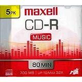 Maxell 5-Pack CDR medios grabables 80minfor Música con Slimline–Funda