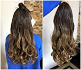 24 Inches Half Head Wig Long OMBRE 3/4 Weave Brown Blonde (Chocolate brown to honey blonde)