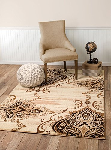 Summit WG-36I2-HMR7 New 31 Damask Area Rug Carpet Beige Brown Cream Available  (3'.8''X 5'), 4 X 5 ACTUAL IS 3'.8''X 5' (Brown Cream And Rug Area)