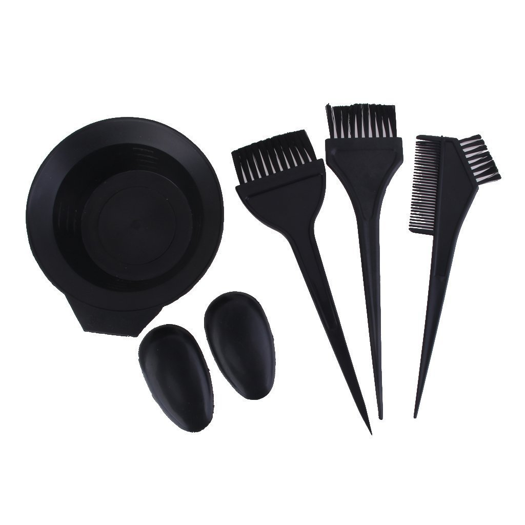 MA-on 5pcs Salon Hair Dye Tint Bleach Mixing Bowl Comb Brush Tool Set (Black)