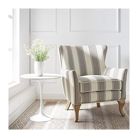Dorel Living Reva Accent Chair, Gray - Traditional design with a modern flair Classic flared arms and an arched backrest Loose Seat Cushion for easy cleaning - living-room-furniture, living-room, accent-chairs - 51IXAyndHPL. SS570  -