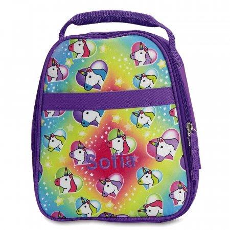 Personalised cute script Unicorn Lunch Bag School Kids pink school lunch box