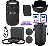 Canon EF 75-300mm III USM Camera Lens. PagingZone Deluxe Kit. 3Piece Filter Set + Lens Case + Lens Hood + 2 PC 32GB Class 10 Card + For EOS 6D 70D 5D MK II III, T3, T3i, T4i, T5 T5i SL1.