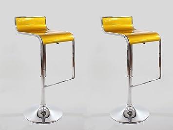 Sgabello Oro : Heusa tech 2x sgabello da bar oro plastica ruotabile regolabile in
