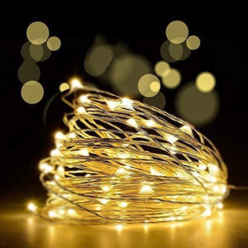 [2 Pezzi] Catene Luminose, JOLALIA 10m 100leds Stringa Luci LED 8 Modalità Luci Natalizie a Batteria Impermeabile IP65 per Interni e Esterni, Casa, Feste, Matrimonio, DIY, Natale (Bianco Caldo)
