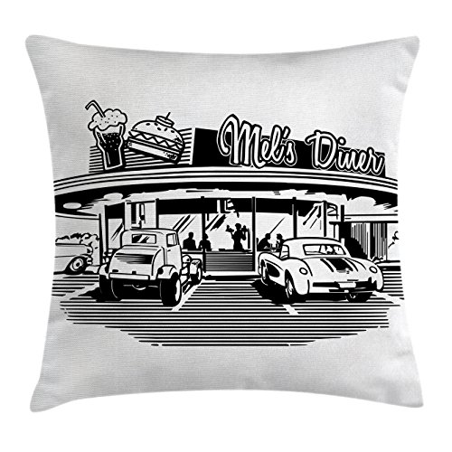 Ambesonne Retro Throw Pillow Cushion Cover, Nostalgic Image of Retro Diner Restaurant with Vintage Cars Back Then in Fifties, Decorative Square Accent Pillow Case, 18 X 18 Inches, Black White by Ambesonne