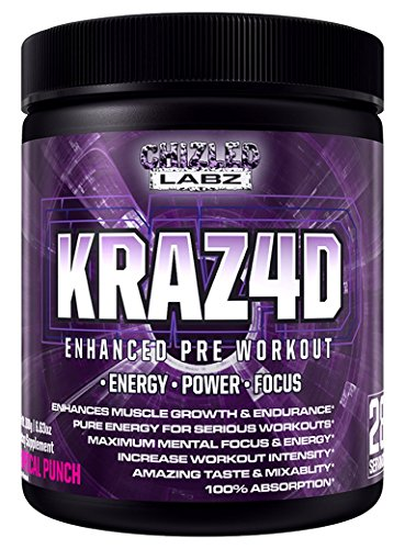 Best Pre Workout KRAZ4D Enhanced Formula for Serious Athletes. Supports Energy, Power, Focus & Muscle Growth. Also has Creatine, Zero Sugar, Great Taste & 100% Absorption. Tropical (Yohimbe Edge)