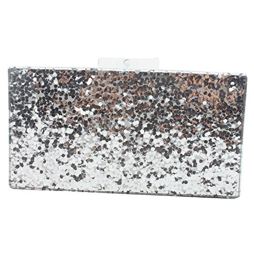 Glitter Silver Acrylic Bag Perspex Handbags Women Silver Clutch Bags Purse for vtHqx6x
