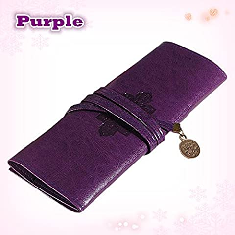 Women's Retro Vintage Roll Leather Make-up Cosmetic Pen Case Pouch Purse Bag Box (PURPLE) (Disney Pin Grab Bag)