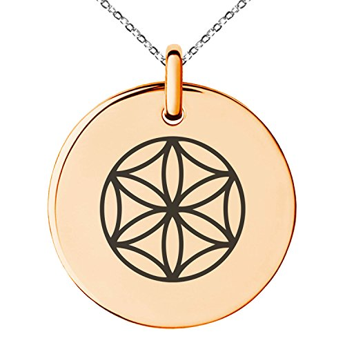 ated Stainless Steel Aphrodite Greek Goddess of Love Symbol Engraved Small Medallion Circle Charm Pendant Necklace ()