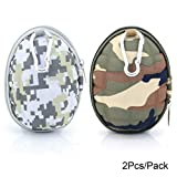 U-TIMES Grenade Pattern Small Camo EVA Keys Bag Coins Pouch Data Headphone Cable Storage Holder 2Pcs/Pack (04 Army Green & Grey)