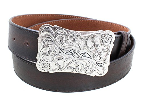 Women's Ornate Engraved Metal Big Western Belt Buckle With Leather Belt - Brown S