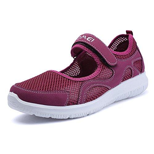 Zapatos de Verano Mujer Malla Transpirable Zapatillas Ligero Sneakers Zapatillas Running Morado
