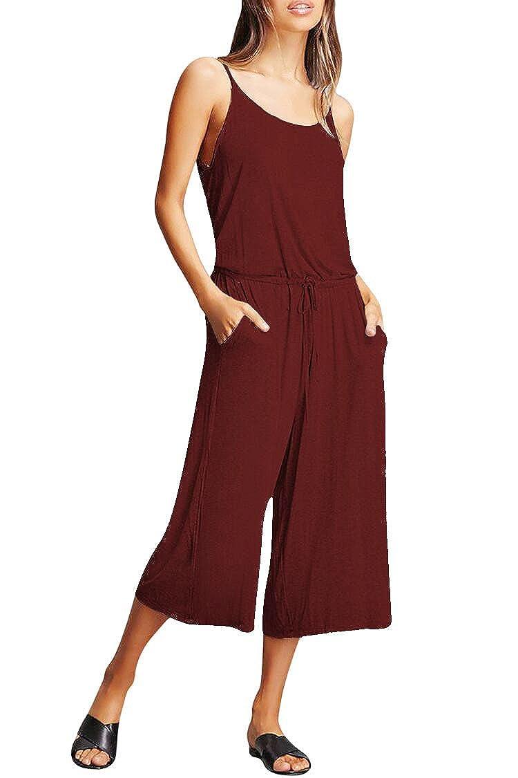 Fixmatti Women Straps Backless Loose Capri Wide Leg Romper Jumpsuit FMPJP2022