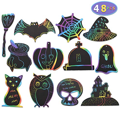 Max Fun Rainbow Color Scratch Halloween Ornaments (48 Counts) - Magic Scratch Off Cards Paper Hanging Art Craft Supplies Educational Toys Kit with 48 PCS Drawing Sticks & Cords for Kids Party Favors