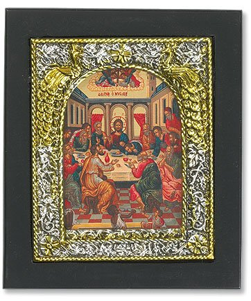 Small Christian Catholic Wall Hanging The Last Supper Ornate Icon Plaque Picture