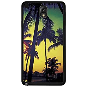 Colorful Rainbow Sunset Behind Palm Trees Silhoutte Hard Snap on Phone Case (Note 3 III)