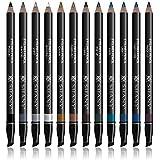 SHANY Slim Eye Liner Pencil Set with Vitamin E and Aloe Vera - 12 Shades - With Storage