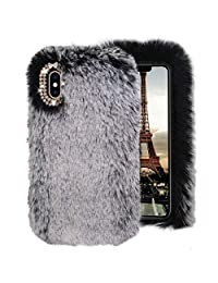 Gray Furry Case for Samsung Galaxy S7,Soft Silicone Case for Samsung Galaxy S7,Herzzer Stylish Fashionable Winter Warmed Faux Rabbit Fur Bunny Plush Diamond Shockproof Flexible Back Cover with Chic Crystal 3D Bowknot